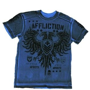 Affliction Live Fast T Shirt Large Blue
